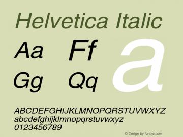 Helvetica Italic 001.006 Font Sample