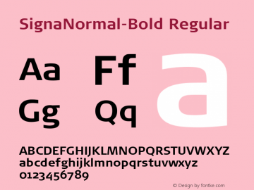 SignaNormal-Bold Regular Version 4.301; 2000 Font Sample