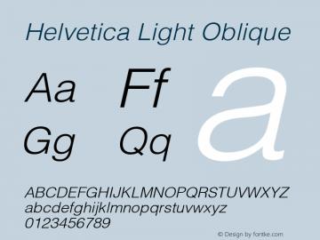 Helvetica Light Oblique 6.0d1e1 Font Sample