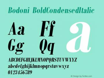 Bodoni BoldCondensedItalic Version 1图片样张