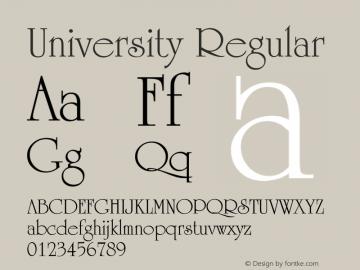 University Regular Unknown Font Sample