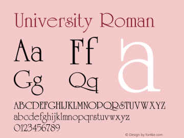 University Roman Version 001.002 Font Sample