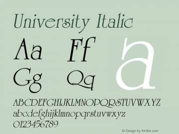 University Italic 1.0 Sat May 29 18:07:52 1993 Font Sample
