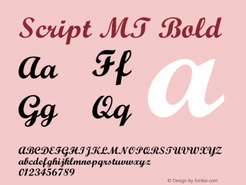 Script MT Bold 001.001 Font Sample