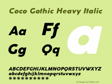 Coco Gothic Heavy Italic Version 2.001 Font Sample