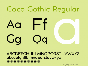 Coco Gothic Regular Version 2.001 Font Sample