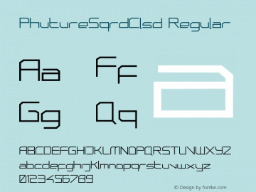 PhutureSqrdClsd Regular 001.000 Font Sample