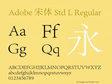 Adobe 宋体 Std L Regular Version 5.017;PS 5.002;hotconv 1.0.67;makeotf.lib2.5.33168图片样张