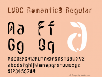 LVDC Romantic9 Regular Macromedia Fontographer 4.1J 04.12.30 Font Sample