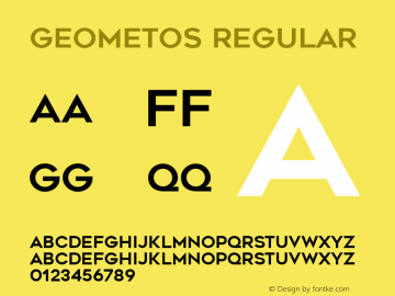 Geometos Regular Version 1.000 Font Sample
