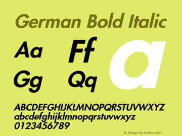 German Bold Italic Version 1.01图片样张