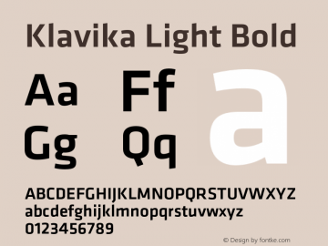 Klavika Light Bold Version 3.003 Font Sample