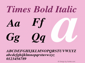 Times Bold Italic OTF 1.0;PS 003.000;Core 1.0.22 Font Sample