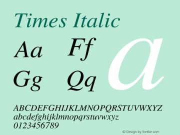 Times Italic 001.007 Font Sample