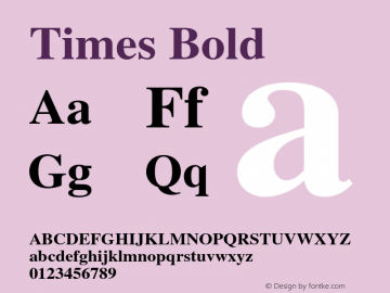 Times Bold 001.007 Font Sample
