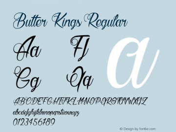 Butter Kings Regular Version 001.000 Font Sample