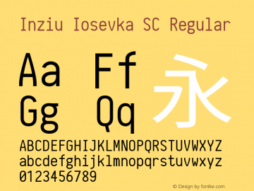 Inziu Iosevka SC Regular Version 1.060 Font Sample