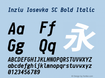 Inziu Iosevka SC Bold Italic Version 1.060 Font Sample