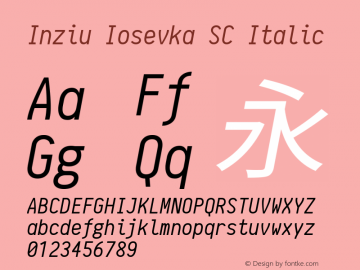 Inziu Iosevka SC Italic Version 1.060 Font Sample