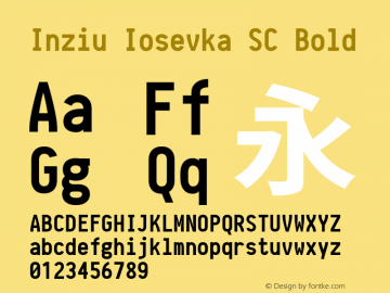 Inziu Iosevka SC Bold Version 1.060 Font Sample