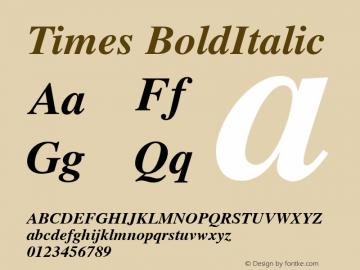 Times BoldItalic Version 1.00 Font Sample