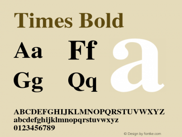 Times Bold Version 001.007 Font Sample