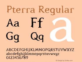 Pterra Regular Version 001.000 Font Sample
