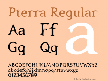 Pterra Regular Version 001.000 Font Sample