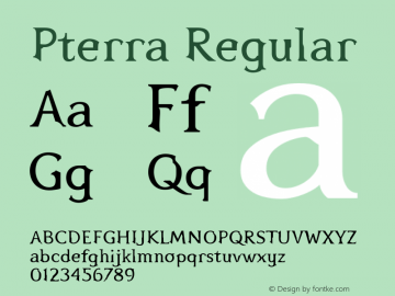 Pterra Regular Version 1.00 Font Sample