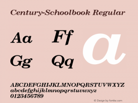 Century-Schoolbook Regular Converted from U:\HOME\PEARCE\AT\TTFONTS\ST000014.TF1 by ALLTYPE Font Sample