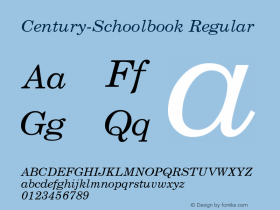 Century-Schoolbook Regular Converted from U:\HOME\PEARCE\AT\TTFONTS\ST000016.TF1 by ALLTYPE Font Sample