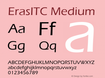 ErasITC Medium Version 001.000 Font Sample