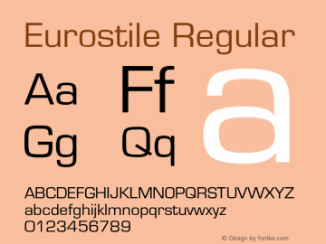 Eurostile Regular Converted from U:\HOME\PEARCE\AT\TTFONTS\ST000023.TF1 by ALLTYPE Font Sample