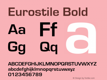Eurostile Bold Version 1.50 Font Sample