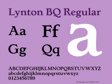 Lynton BQ Regular 001.000 Font Sample