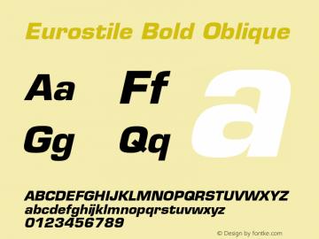 Eurostile Bold Oblique 001.001 Font Sample