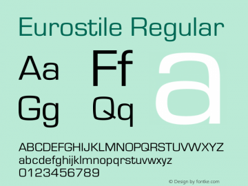 Eurostile Regular Version 1.60 Font Sample