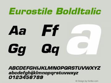 Eurostile BoldItalic Version 1.00 Font Sample