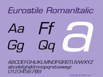 Eurostile RomanItalic Version 1.00 Font Sample