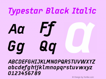 Typestar Black Italic Version 001.000 Font Sample