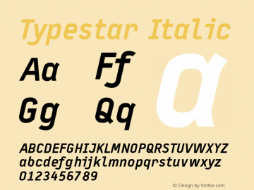 Typestar Italic Version 001.000 Font Sample