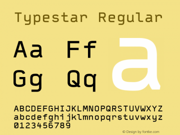 Typestar Regular Version 001.000 Font Sample