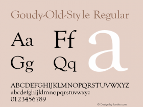 Goudy-Old-Style Regular Converted from c:\word\truetype\polices\GOUDYO.TF1 by ALLTYPE Font Sample