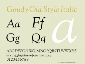 Goudy-Old-Style Italic Converted from c:\word\truetype\polices\GOUDYOI.TF1 by ALLTYPE Font Sample