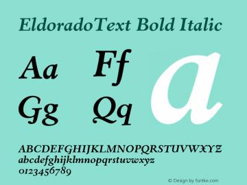 EldoradoText Bold Italic 001.000图片样张