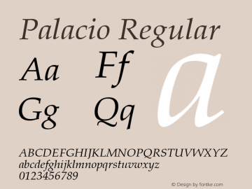 Palacio Regular Converted from U:\HOME\PEARCE\AT\TTFONTS\ST000045.TF1 by ALLTYPE Font Sample