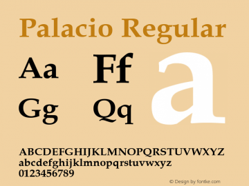 Palacio Regular Converted from U:\HOME\PEARCE\AT\TTFONTS\ST000046.TF1 by ALLTYPE Font Sample