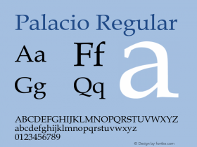 Palacio Regular Converted from U:\HOME\PEARCE\AT\TTFONTS\ST000044.TF1 by ALLTYPE Font Sample