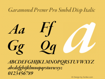 Garamond Premr Pro Smbd Disp Font,GaramondPremrPro-SmbdItDisp Font