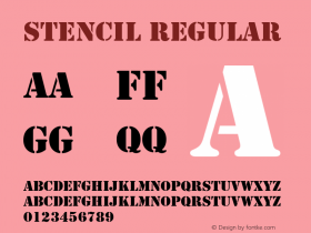 Stencil Regular Converted from D:\TEMP\STEN1E14.TF1 by ALLTYPE Font Sample
